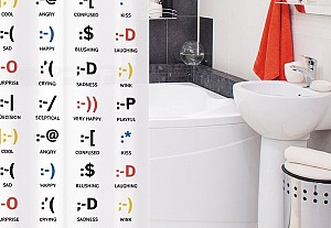 Funny shower curtain with smileys