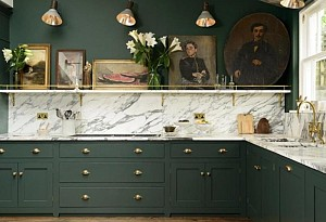 Kitchen with pine green color, JJ Media Group