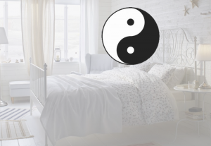 Ikea bedroom with the yin yang symbol
