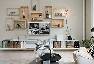 Scandinavian interior with upcycled crates, Alvhem
