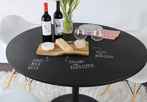 Chalkboard painted on a table