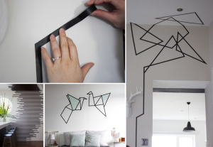 Masking tape on white walls