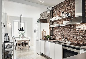 Red brick wall in a kitchen, Entrance