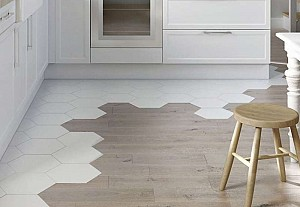 Mixed flooring in the kitchen, Castorama