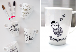 DIY project painting mugs