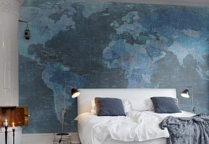 Planisphere design on wallpaper, Au fil des couleurs - BnbStaging the blog