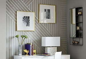 linear patterned paint on a wall, CB2