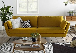 Yellow velvet sofa, La Redoute - BnbStaging the blog